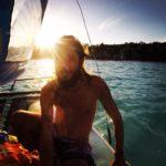 Claudio Pelizzeni in barca a Laguna Bacalar Messico