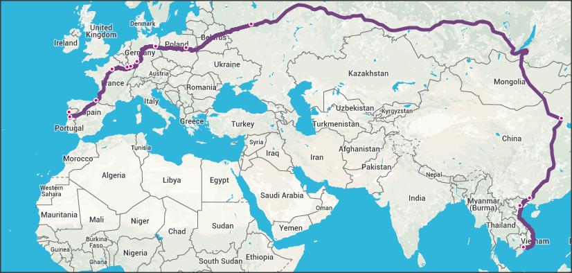 Il viaggio in treno più lungo del mondo: Mappa