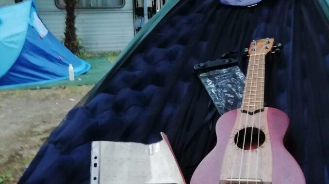 ukulele, amaca, viaggio, campeggio, camping, lago, kayak, canoa, Como