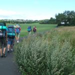 escursionisti, gita, lungo viaggio, partire, inghilterra, campagna, escursioni